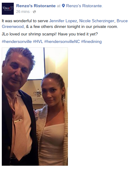 Jennifer Lopez and Renzo at Renzo's Ristorante