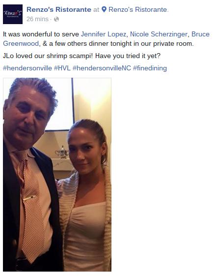 Jennifer Lopez and Renzo at Renzo's Ristorante