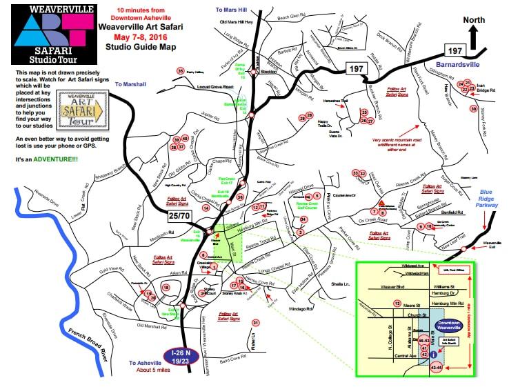 Weaverville Art Safari Studio Tour Map