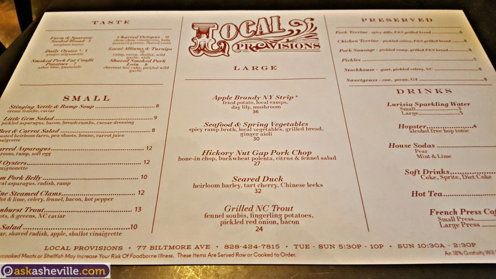 Asheville Menu at Local Provisions