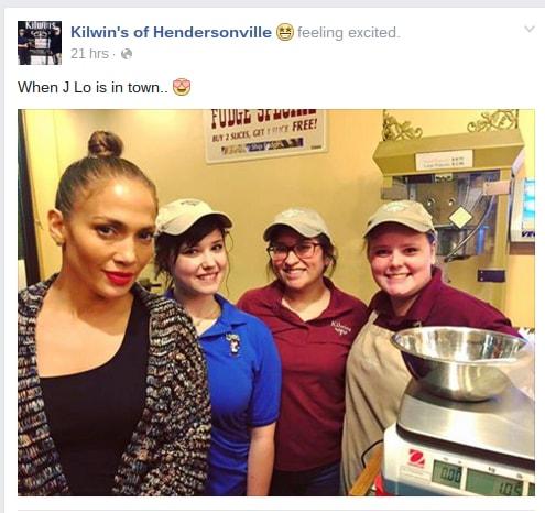 Kilwin's Facebook Post of Jennifer Lopez J.Lo in Hendersonville
