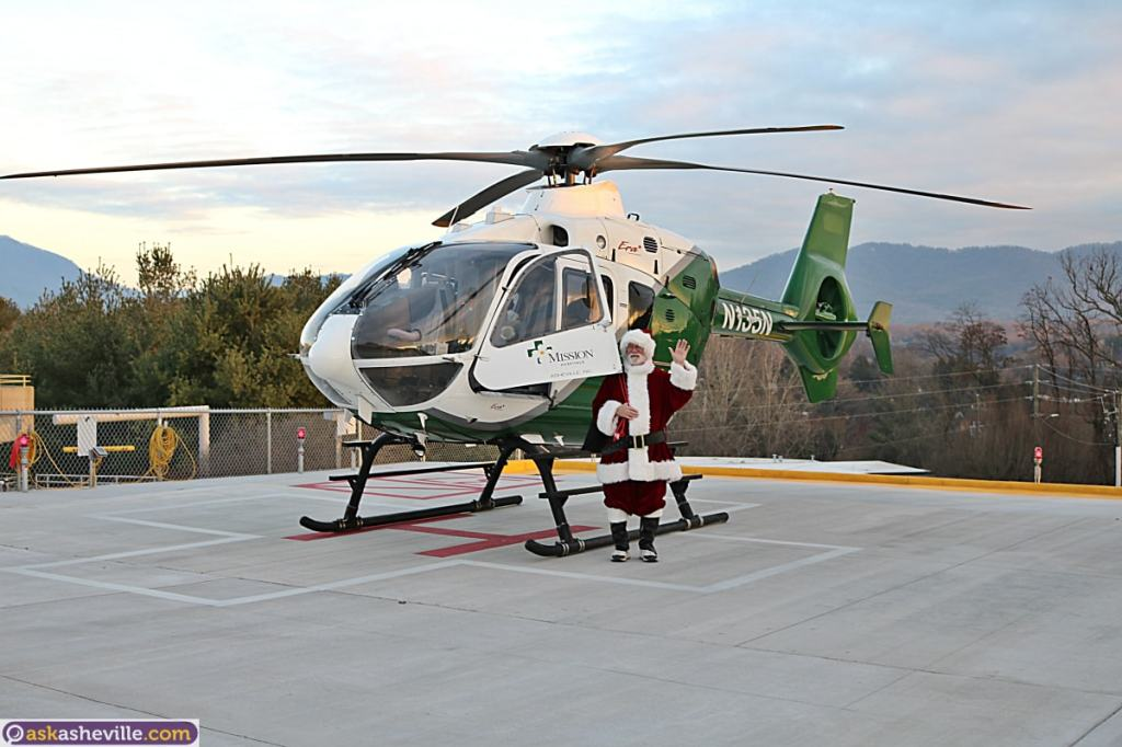 Asheville Santa with Mission MAMA Helicopter